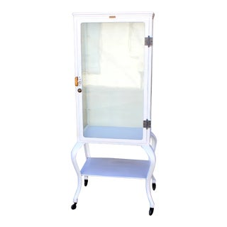 1920s White Glass Door Medical Cabinet For Sale