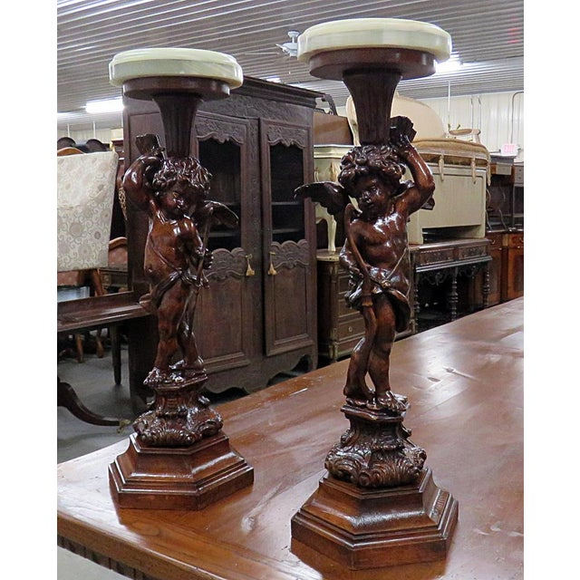Alabaster Pair of Renaissance Style Putti Pedestals For Sale - Image 7 of 7