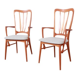 Niels Koefoed for Koefoeds Hornslet Danish Modern Sculpted Teak Ingrid Armchairs, Pair For Sale
