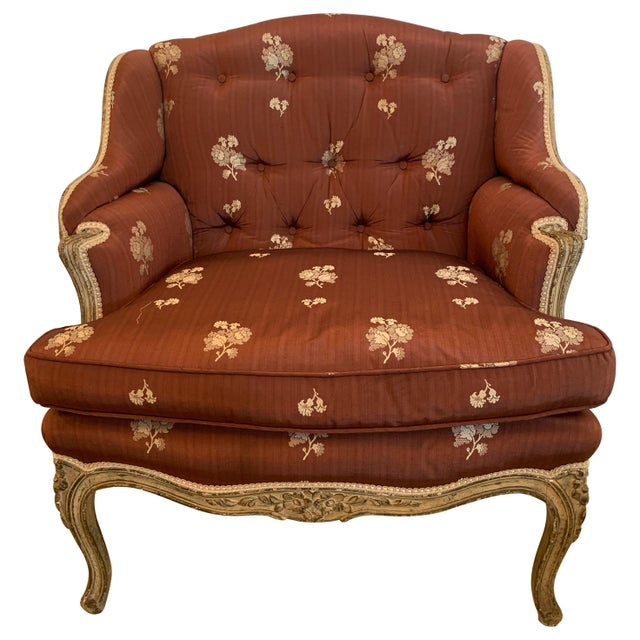 Gorgeous French Louis XV Club Chair Dressed Up in Rose Tarlow Fabric For Sale - Image 11 of 11
