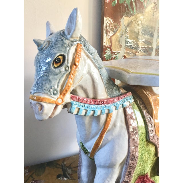 Unicorn Horse Majolica Garden Seat - Image 3 of 5
