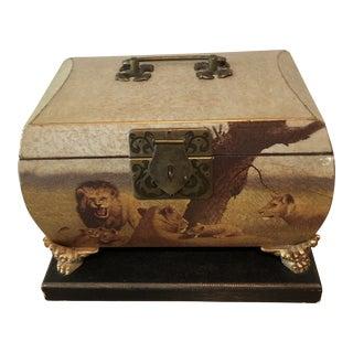 1970's Vintage Lion Chest Accessory Box