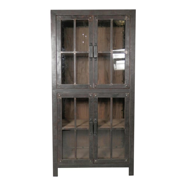 Reclaimed Iron and Wood Glass Door Cabinet - Image 1 of 8