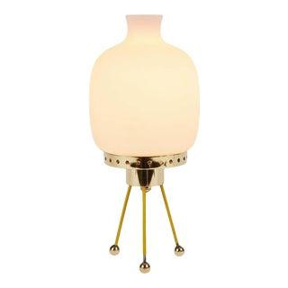 1950s Glass & Brass Tripod Table Lamp Attributed to Stilnovo For Sale