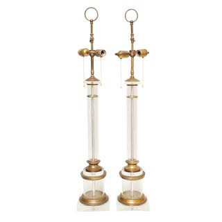 Pair of Lucite and Brass Columnar Lamps For Sale