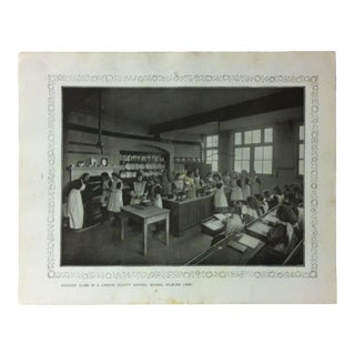 """1906 """"Cookery Class in a London County Council School - Kilburn Lane"""" Famous View of London Print For Sale"""