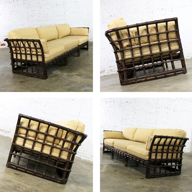 Brown Jordan Windowpane Dark Brown Rattan Sofa With Straw Colored Cushions For Sale - Image 10 of 13
