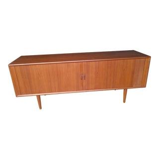 Sven Aage Larsen Denmark Mid Century Teak Credenza Buffet Storage Silver Drawers Cabinet For Sale
