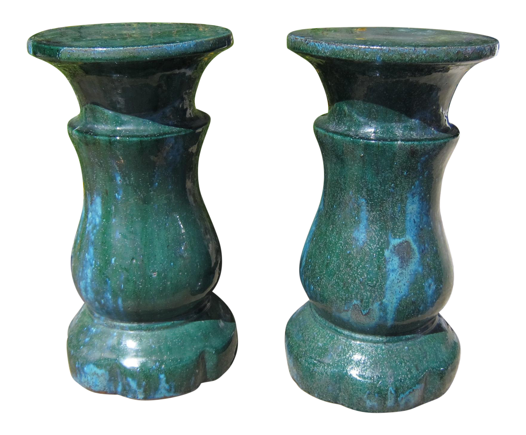 Emerald Ceramic Garden Seats   A Pair