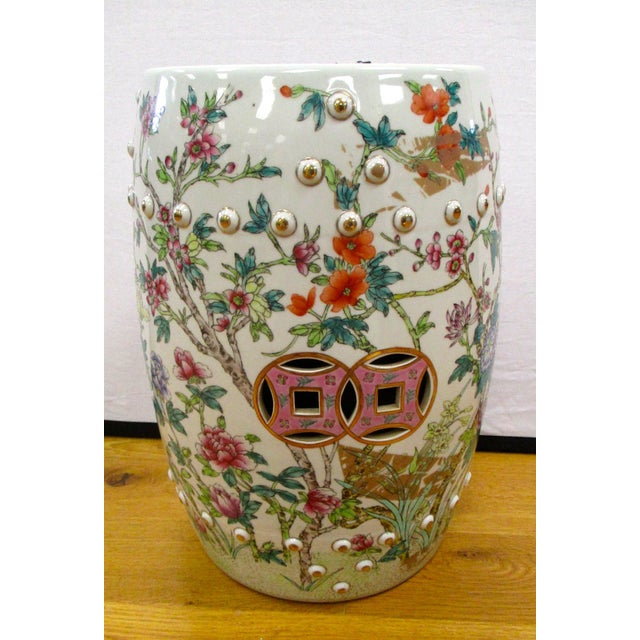 Chinese Porcelain Floral Garden Stool For Sale - Image 4 of 6