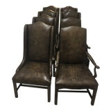 Image of Vintage Leather Hickory Dining Chairs - Set of 8 For Sale