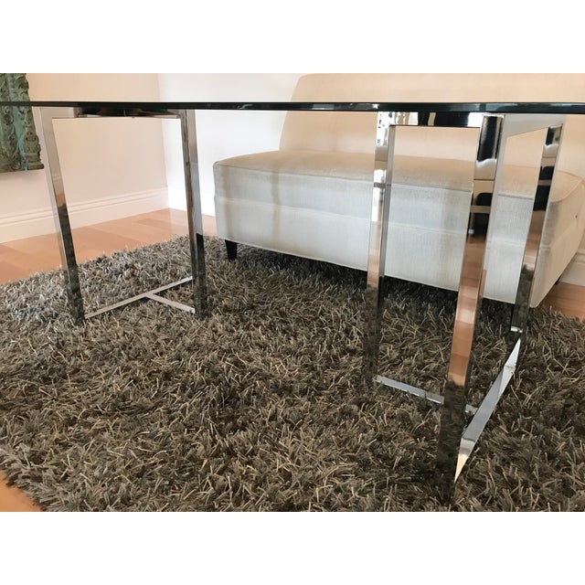 CB2 Silverado Chrome Dining Table For Sale - Image 4 of 8