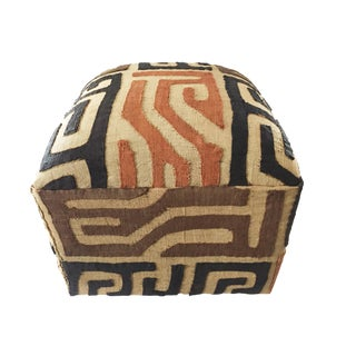 """Custom Made Lg Square Kuba Textile Ottoman 18"""" H by 17.5"""" W For Sale"""