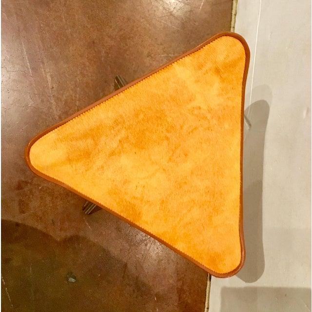 Modern Modern Global Views Orange Hide Camp Stool For Sale - Image 3 of 5