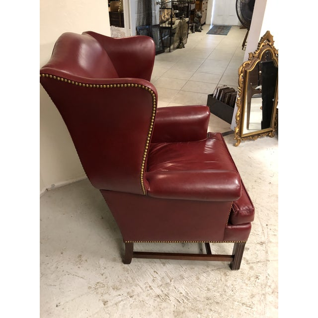 English Late 20th Century Oxblood Leather Wingback Chair For Sale - Image 3 of 7
