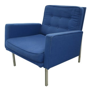 1960s Mid Century Modern Florence Knoll Blue Parallel Bar Club Chair