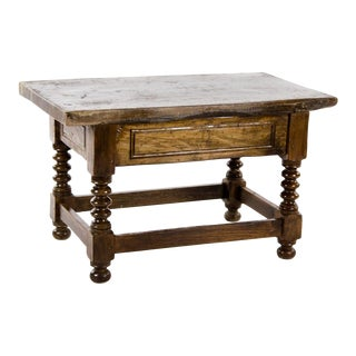 19th Century English Oak Bobbin Turned Coffee Table For Sale