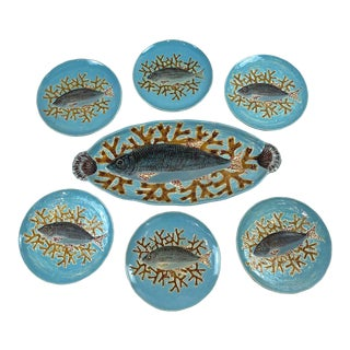 C 1875 English Holdcroft Majolica Turquoise Salmon Service - 7 Pieces For Sale