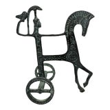 Image of Vintage Brass Etruscan Horse and Chariot Rider Sculpture in the Style of Frederick Weinberg For Sale