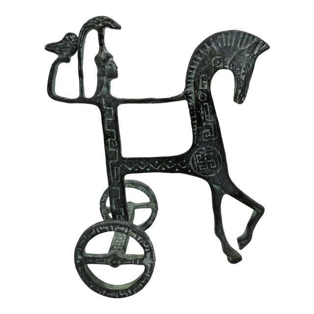 Vintage Brass Etruscan Horse and Chariot Rider Sculpture in the Style of Frederick Weinberg For Sale