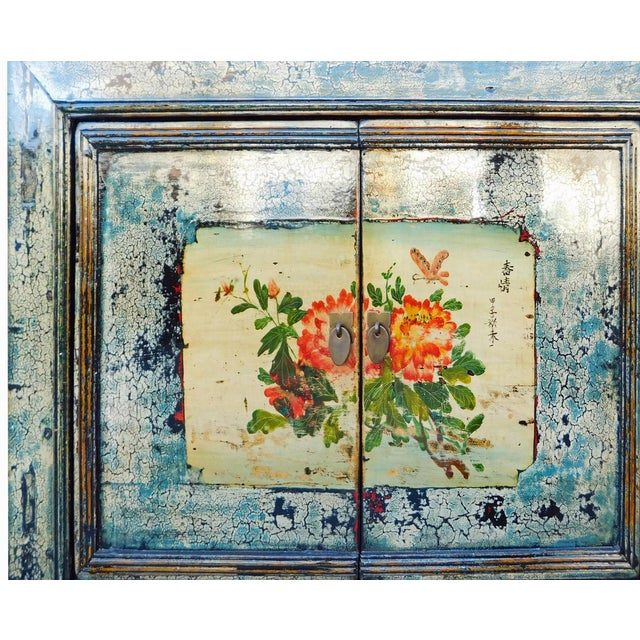 Chinese Floral Cabinet in Crackle Blue - Image 7 of 8