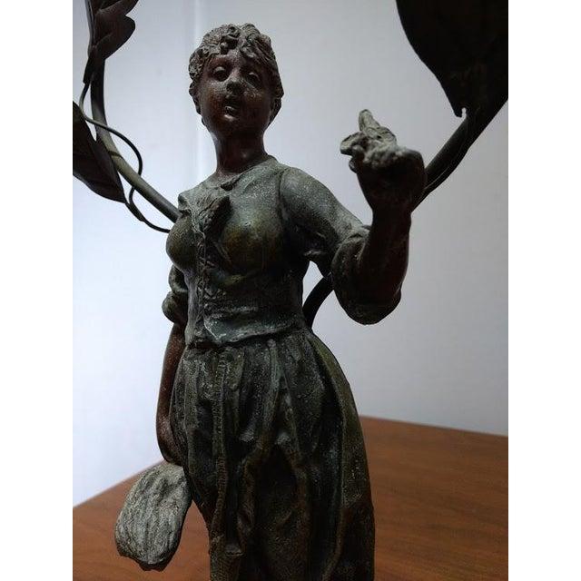1890-1920 Art Nouveau Metal Faneuse Peasant Girl Sculpture For Sale - Image 4 of 8