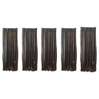 Metallic Charcoal & Bronze Drapes - Set of 5 For Sale