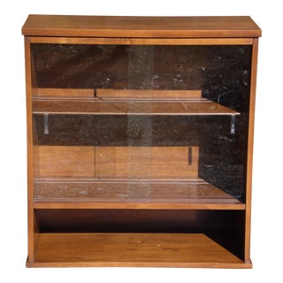 Vintage Mid Century Modern Walnut Jr. Hutch Small Glass Display Cabinet Bookcase For Sale
