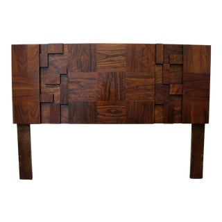 1970s Mid-Century Brutalist Full Queen Walnut Wood Headboard by Lane Furniture