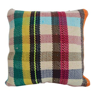 Turkish Hand Woven Kilim Pillow Cover Throw Pillow - 16ʺ × 16ʺ For Sale