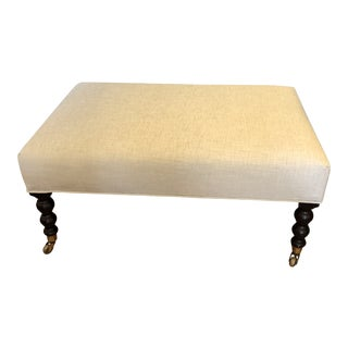 George Smith Style Chenille Ottoman Coffee Table For Sale