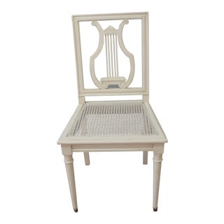 Set of 6 Gustavian Style Painted Lyre Back Dining Chairs With Cane Seat and Removable Linen Seat Cushions.