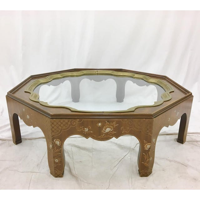 Baker Mid-Century Coffee Table With Brass & Glass Tray Top
