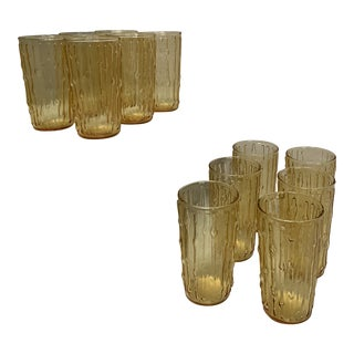 Tahiti Tiki Bamboo Gold Tumblers by Anchor Hocking - Set of 12 For Sale