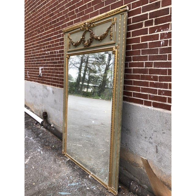 Green 18th C. French Louis XV Trumeau Mirror For Sale - Image 8 of 9