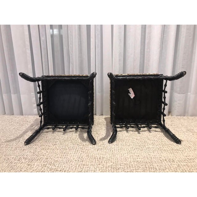 2000 - 2009 Faux Bamboo Foot Stools with Leopard Upholstery - a Pair For Sale - Image 5 of 13