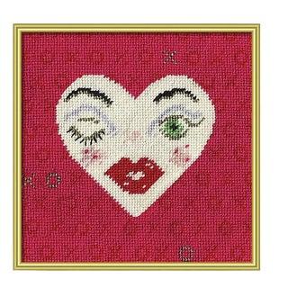 Valentina Heart Framed Digital Reproduction of Original Textile Art For Sale