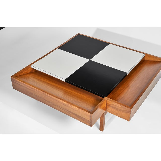 Coffee Table Designed by John Keal for Brown Saltman Checked Surface Lifts to Reveal Storage Circa 1950s For Sale - Image 10 of 10