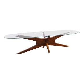 Adrian Pearsall Mid-Century Modern Coffee Table with Glass Top For Sale