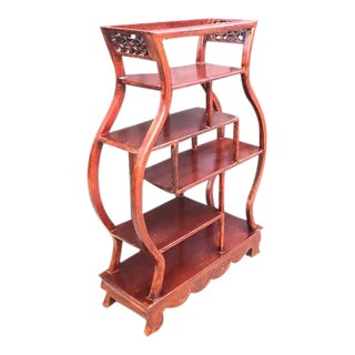 Chinoiserie Carved Rosewood Curio Shelf For Sale