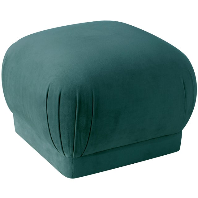 Not Yet Made - Made To Order Mystere Peacock Square Ottoman For Sale - Image 5 of 7