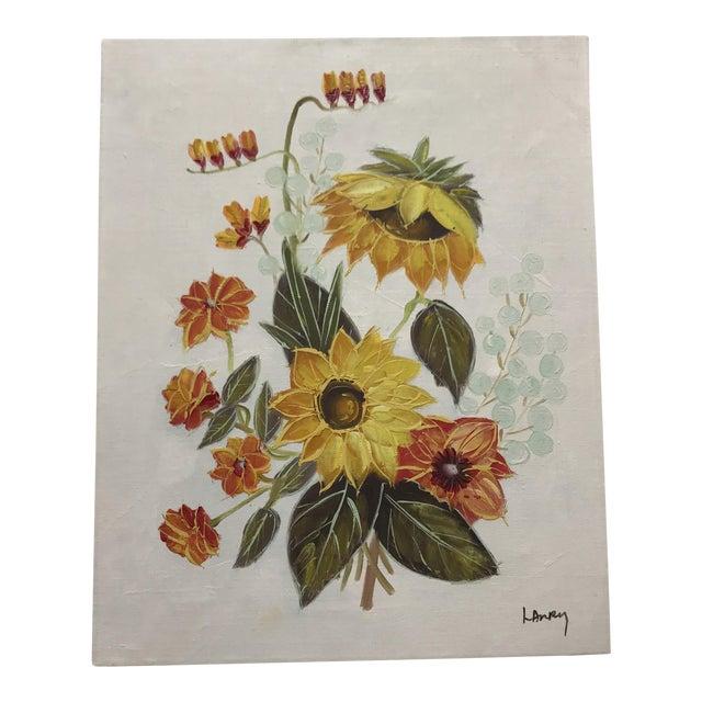 Vintage Original Floral Painting For Sale