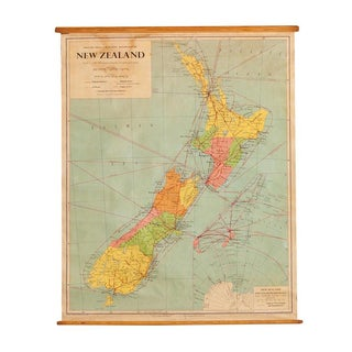 1960s Vintage New Zealand Pull Down Map