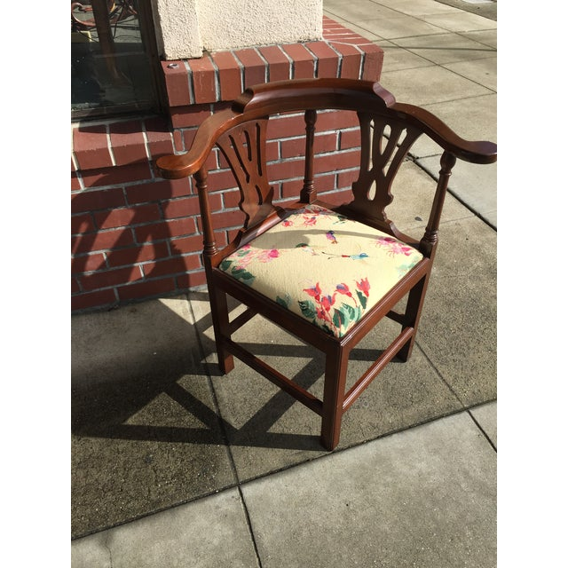 Georgian Style Needlepoint Upholstery Mahogany Corner Chair - Image 4 of 9