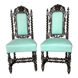 Victorian Oak Green Man Chairs- A Pair For Sale