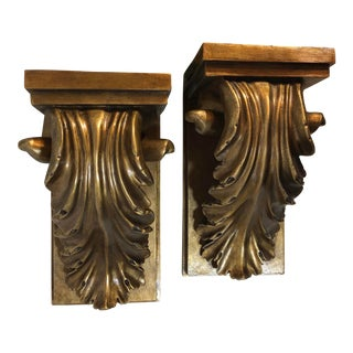 "Vintage Gold ""Wood"" Composite Corbels - A Pair For Sale"