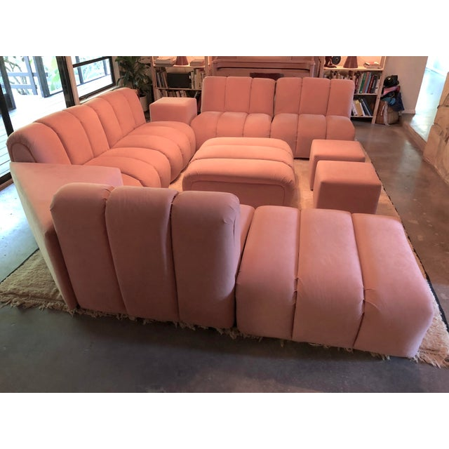 Brutalist Vintage Glam Mid-Century Modular Tubular Brutalist Pink Sectional Sofa--11 Piece Set For Sale - Image 3 of 9