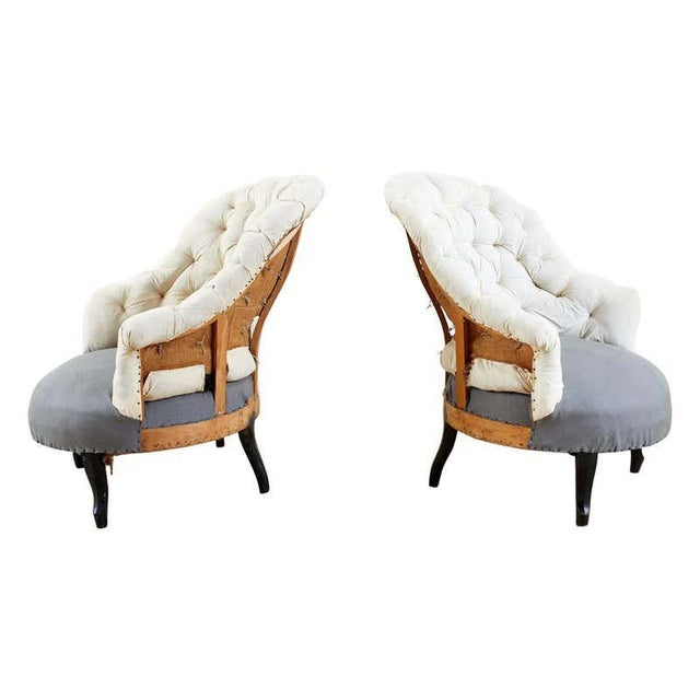 Pair of French Napoleon III Deconstructed Slipper Chairs For Sale - Image 13 of 13