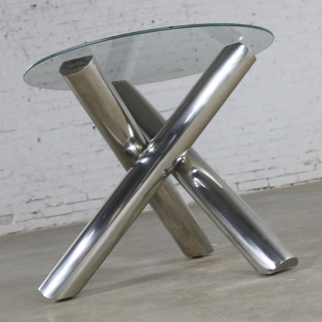 Contemporary Tubular Stainless-Steel Jacks Tripod End Table Round Glass Top Style of Milo Baughman For Sale - Image 3 of 13