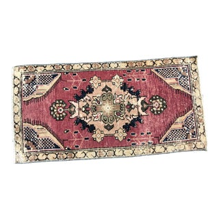 Vintage Traditional Turkish Handmade Decorative Red Small Rug For Sale
